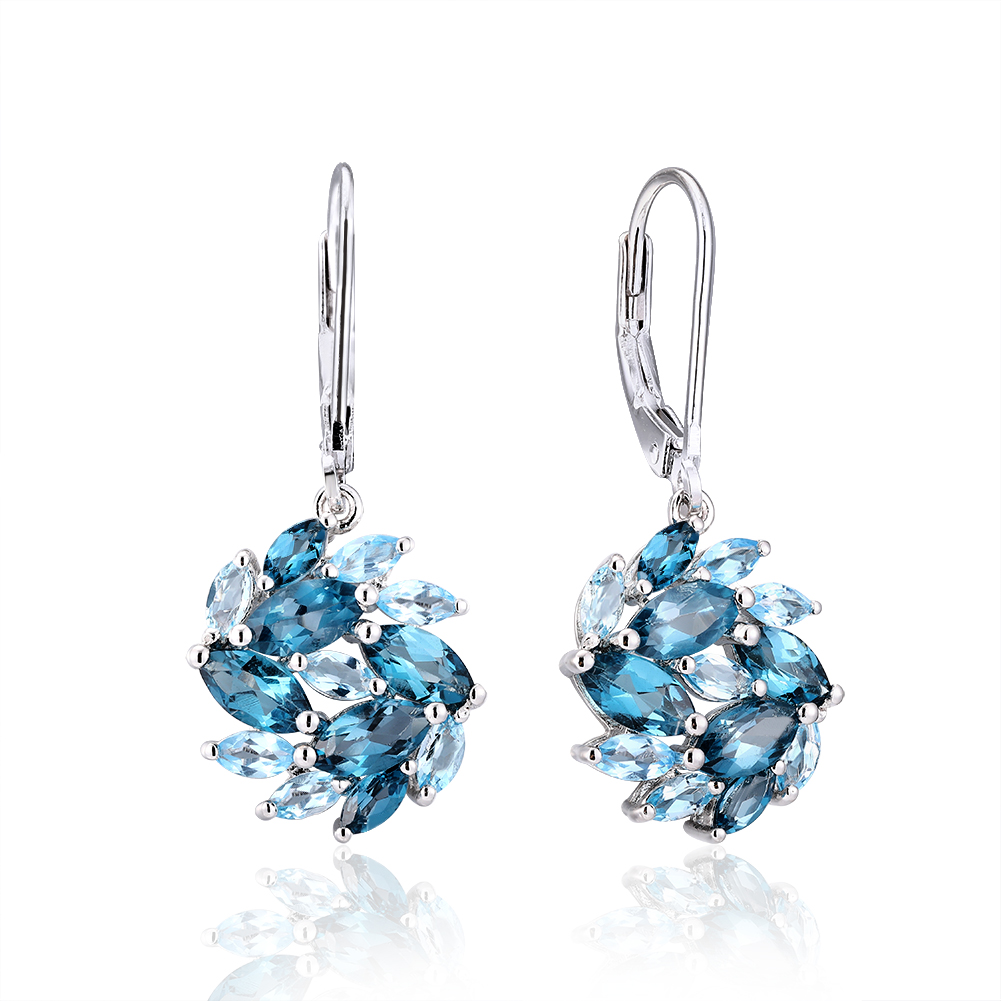 New Design Fashion Natural Blue Topaz Gem handmade jewelry 925 <strong>Sterling</strong> <strong>Silver</strong> <strong>Drop</strong> <strong>Earrings</strong> women