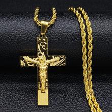 Ожерелье из нержавеющей стали для мужчин, длинное ожерелье из нержавеющей стали золотого цвета, крест, Иисус, цепочка, ожерелье N1172S03 2020(Китай)