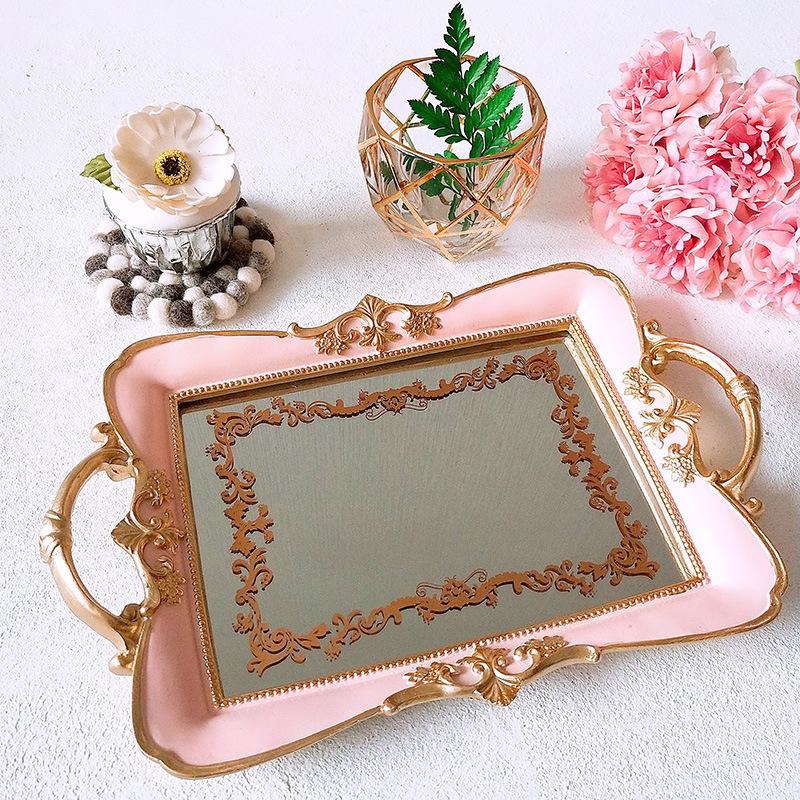 Rectangle Resin Mirror Jewelry Dish Dessert Cake Plate Kitchen Organization Storage Trays Cosmetics Wedding Ring Tray Crafts
