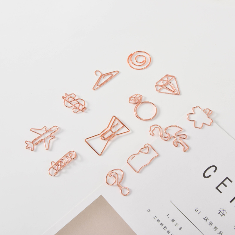 Rose gold notation shape unique metal different kinds paperclip custom shape paper clips