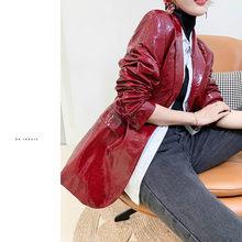 Женская куртка из натуральной овечьей кожи, женская одежда, блейзер, мотоциклетная байкерская куртка, приталенная, весна-осень ZHF535 KJ4106(Китай)