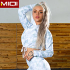 Blouses Tops Crop Top Cropped Fitness Hoodies Women Fitness White Printed Long Sleeve Crop Top Custom Yoga Short Set Hoodie Athletic Hoodie Wholesale