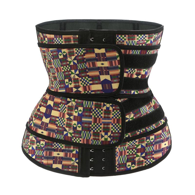 2020 New Listing Fajas Colombianas Body Slimming Shapewear Plus Size Women's African Printing Latex Double Strap Waist Trainer