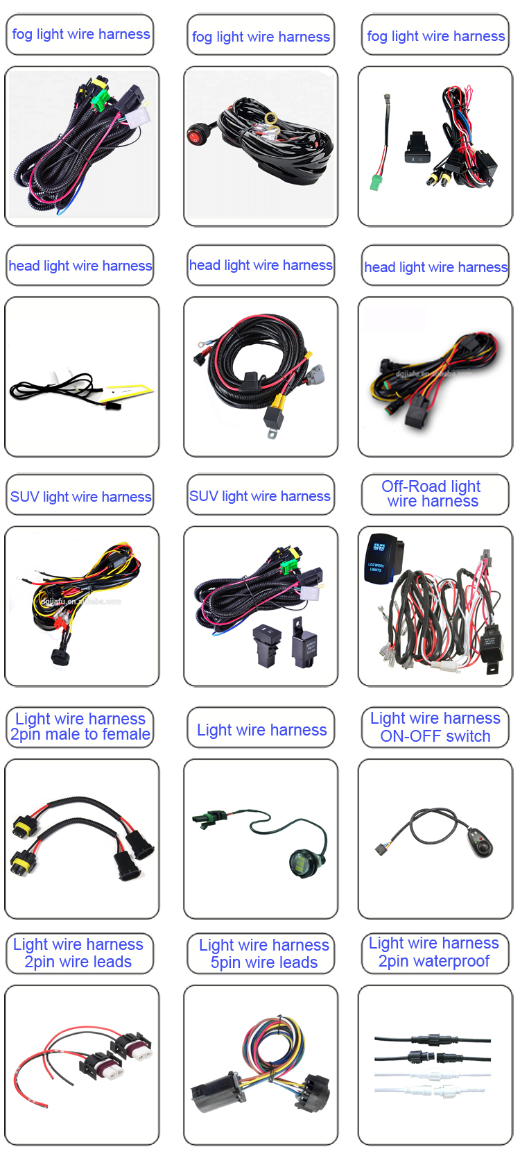 High Quality Led Light Bar Wire Harness with Relay & ON/OFF Switch