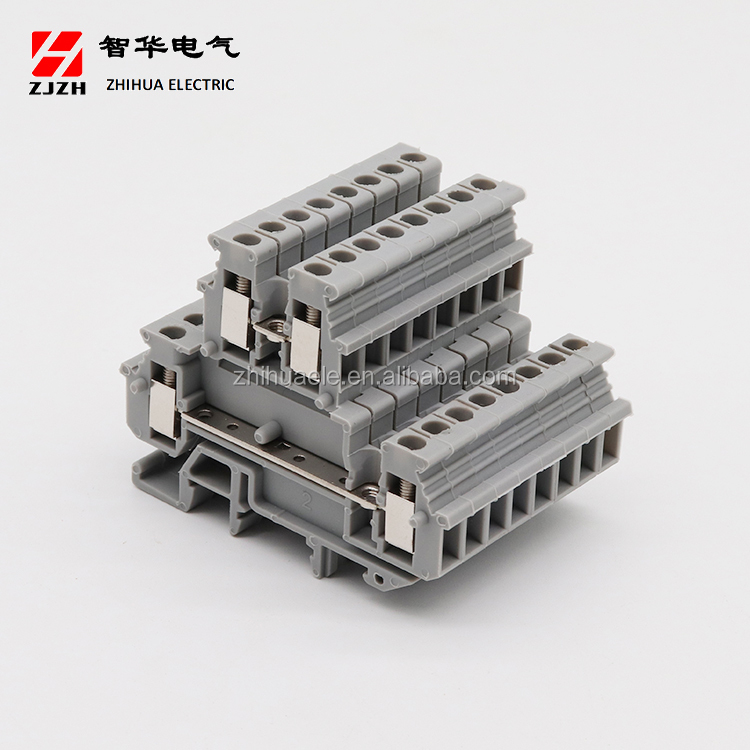 ZHIHUA Hot sale high quality double layer din rail terminal block JHZ1-2.5C(MBKKB2.5)  Electrical Screw Terminal Block Connector