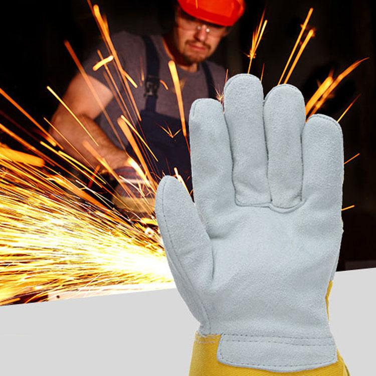 Gants de sécurité en cuir véritable, pour le travail de la construction, résistants à la chaleur Offre Spéciale
