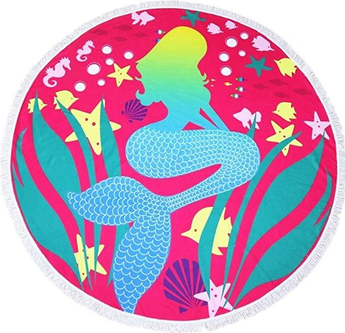 A Buon Mercato all'ingrosso Quick Dry Super Assorbente Logo Personalizzato 3D Digitale Stampato In Microfibra Rotondo Telo Mare
