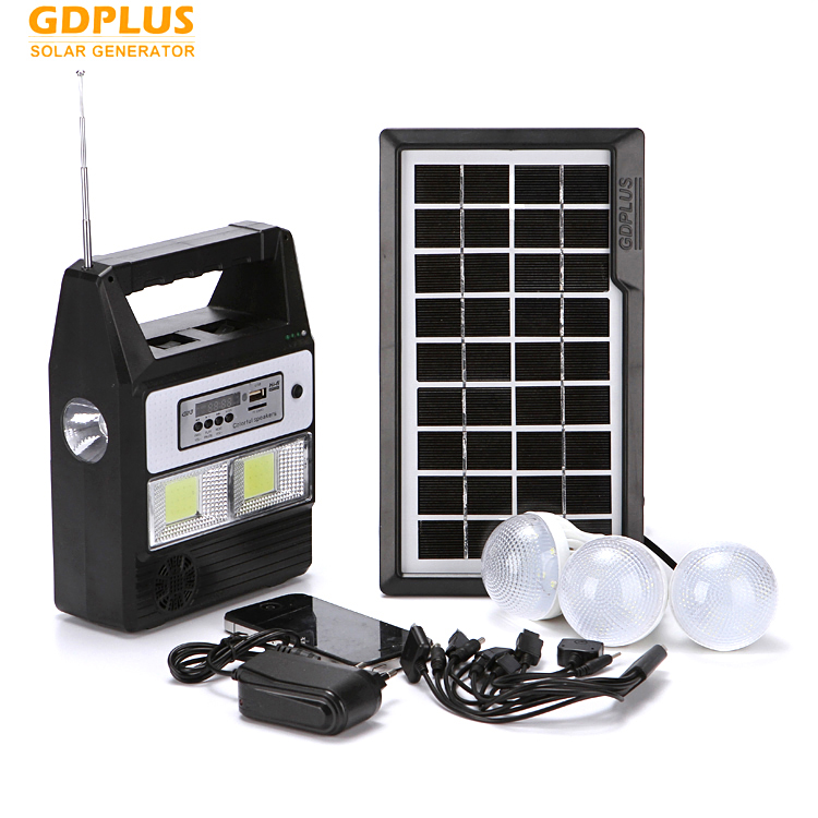Low cost indoor solar led light 3 remote led bulbs mobile charger FM player solar lighting system