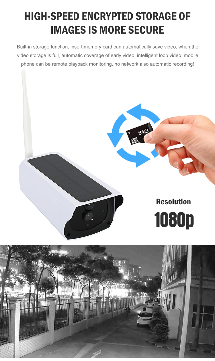 Modern smart home wifi connection ultra clear 1080P quality CCTV solar camera
