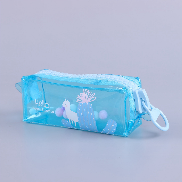 Transparent PVC Customized Colour Printed Pencil Case INS Waterproof Big Zipper Stationery Bag
