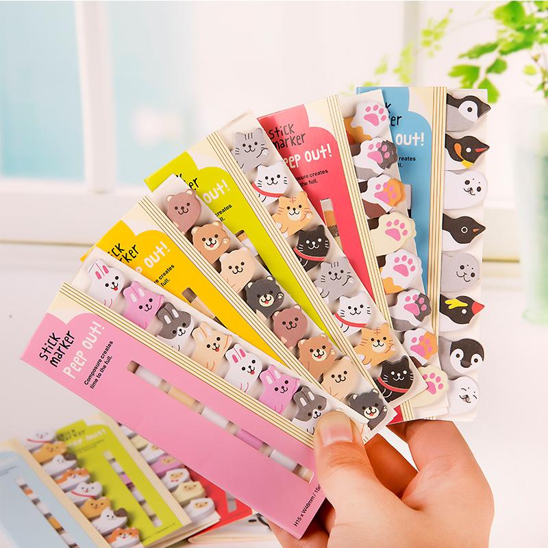 Fabriek Groothandel Kawaii Koreaanse Briefpapier Dier Bladwijzers Notities, Schoolbenodigdheden Papier Papeleria Stickers Index Leuke Memo Pad