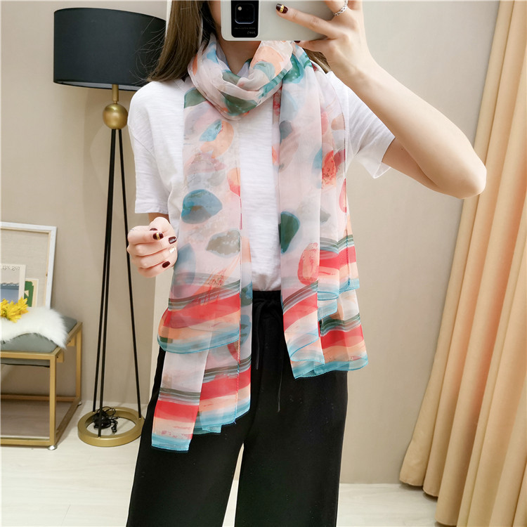 Colorful graffiti printed silk scarf Excellent soft silk scarf female sunscreen travel shawl beach towel autumn and winter scarf