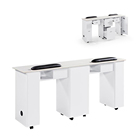 Cheap White Beauty Salon Double Modern Glass Top Luxury Professional Wood Manicure Nail Table
