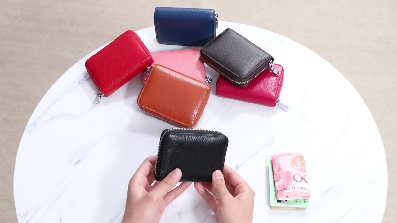 Latest ladies purse wallets genuine leather women wallet chain front pocket private label wallet