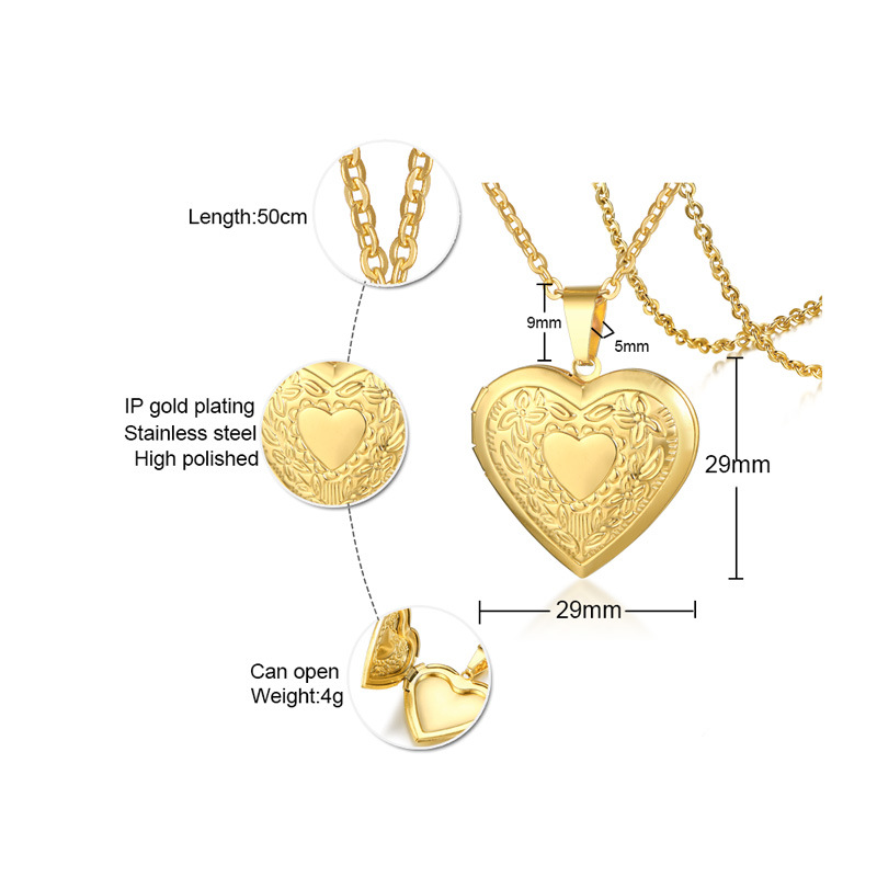 Fashion stainless steel openable photo locket pendant necklace
