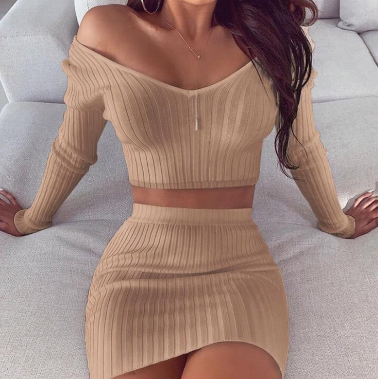 fall Fashion women Sexy hollow deep v off shoulder slim long sleeve two-piece set women clothing