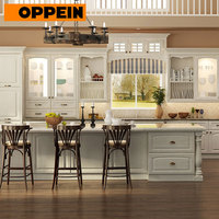 E1 European standard modern designs oak solid wood kitchen cabinet furniture set