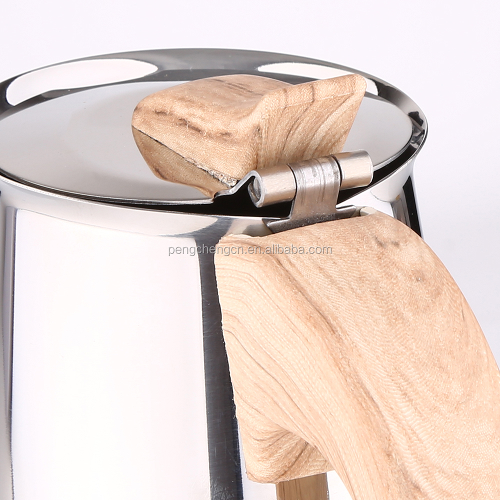 Stainless Steel stovetop coffee maker with wooden handle