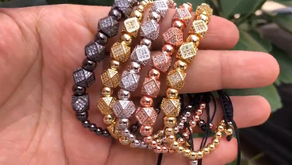 Fashion Copper Beaded Zircon Charm Men's Braided Bead Bracelet Adjustable Micro Pave CZ Beads Macrame Rope Bracelet