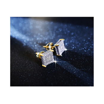 luxury design mens jewelry 14k yellow gold plated square shape cz diamond earrings