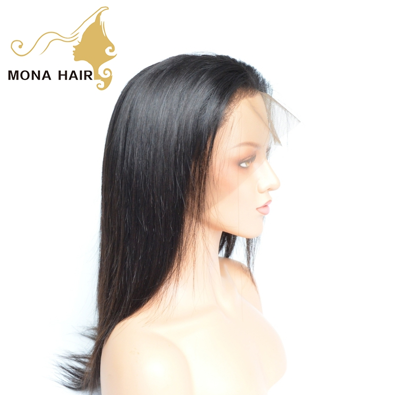 Mona 130% 150% 180% Density Full Peruvian Remy Unprocessed Raw Virgin Cuticle Aligned Straight Human Hair Full Lace Wig