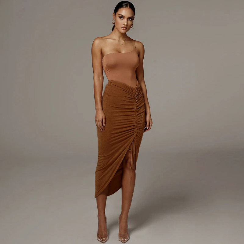 New Arrival sexy Skirt Design solid color women slit dresses  Adjustable  Bodycon  Midi Dress