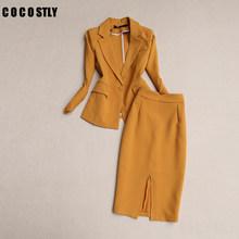 Женский деловой Элегантный комплект из 2 предметов, приталенный Блейзер, юбка, костюмы с топом, куртки, юбки, комплект из двух предметов, офис...(Китай)
