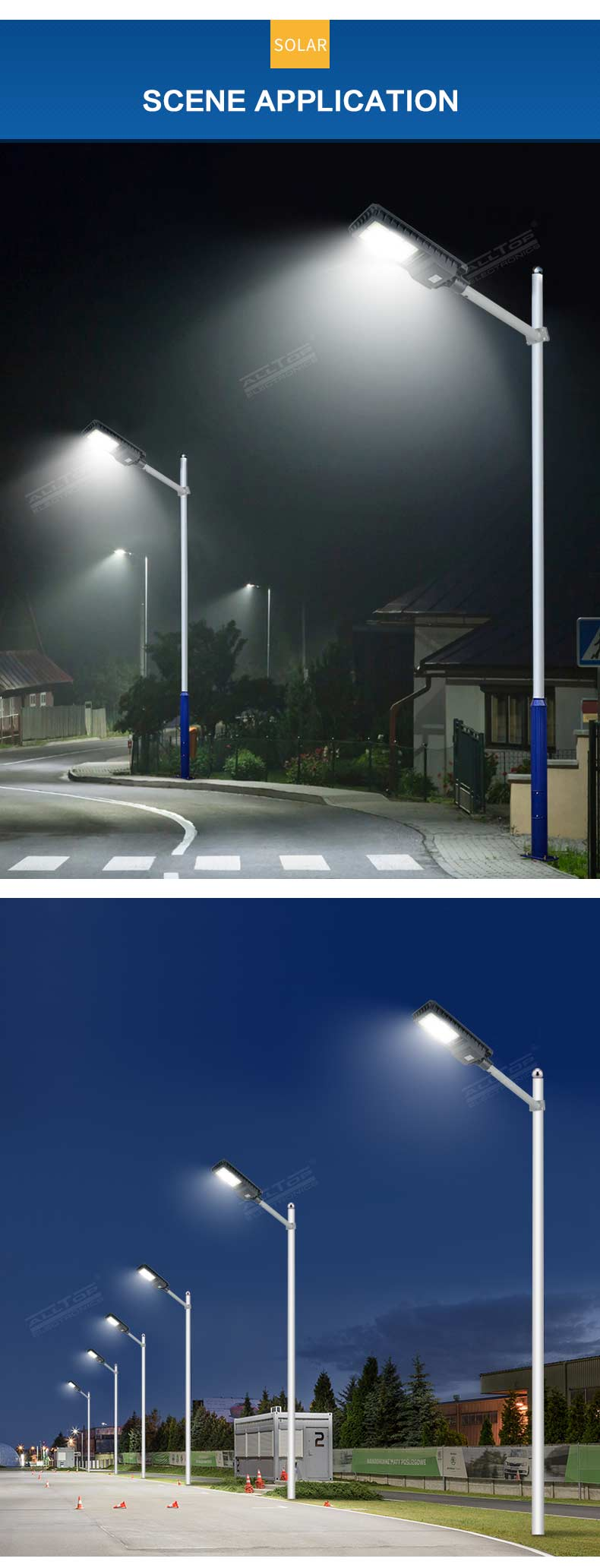 Super bright energy saving aluminum ip65 outdoor waterproof 200w 300w 450w all in one solar led street light