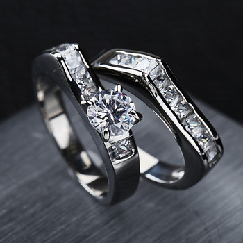 Fashion Couple Stainless Steel Wedding Engagement Rings Set With CZ in good price