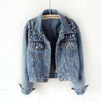 Pearl Beading Short Denim Jackets Women Long Sleeve Vintage Casual Jean Jacket Denim Coat