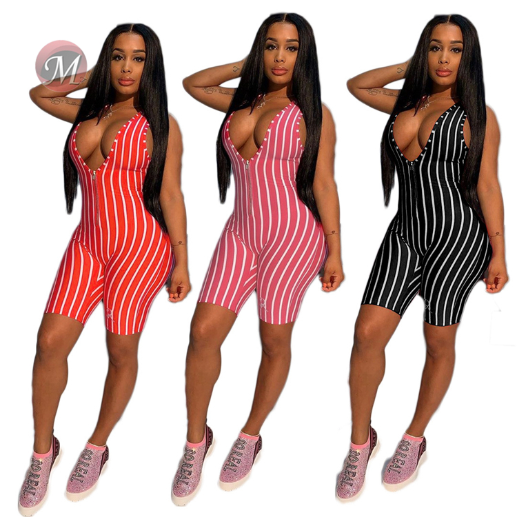0042004 Hot Selling Striped V Neck Zipper Sleeveless Slimming Ladies Clothing Fashionable Sexy Jumpsuit Women One Piece Romper