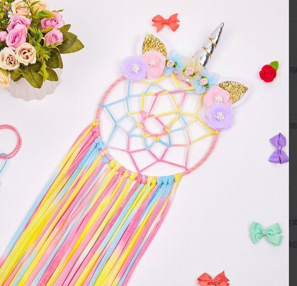 Ins Handmade Colorful  Indian Feathers Dream Catcher for Creative Gift Home Decoration Living Room Baby Room  Decoration