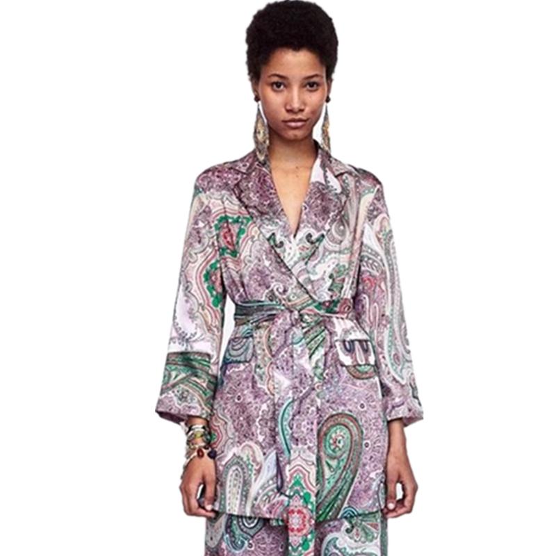가을 의류 고품질 페이즐리 프린트 여성 숙녀 사무복 재킷 코트