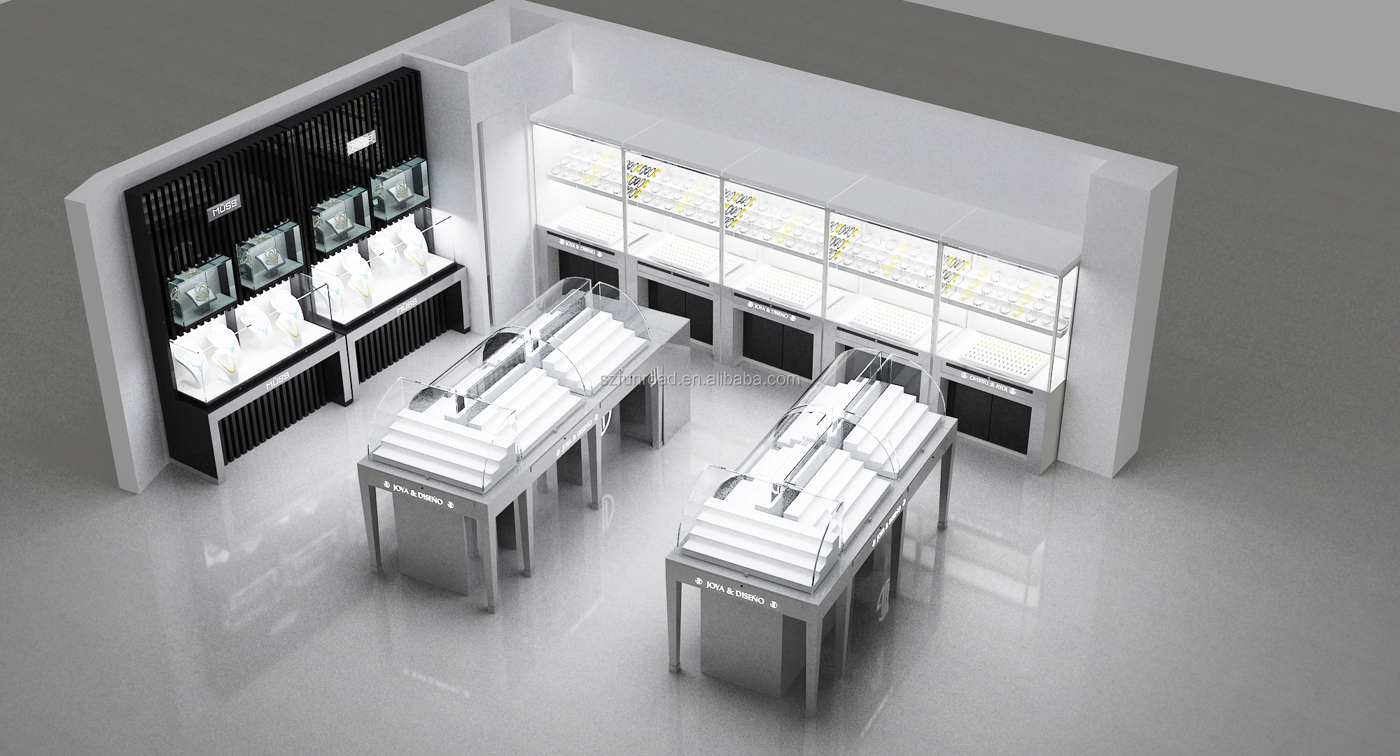 High end jewelry shop counter design jewelry shop decoration for shopping centre