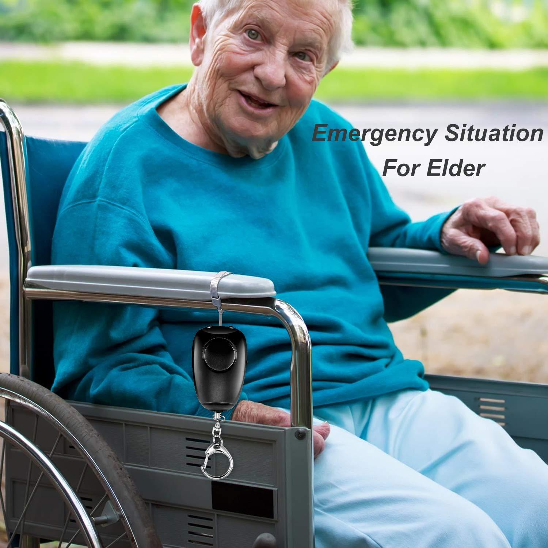 alarma de carga USB con luz LED y llavero de 130dB para defensa personal de emergencia para ni/ños y ancianos Sirenas personales