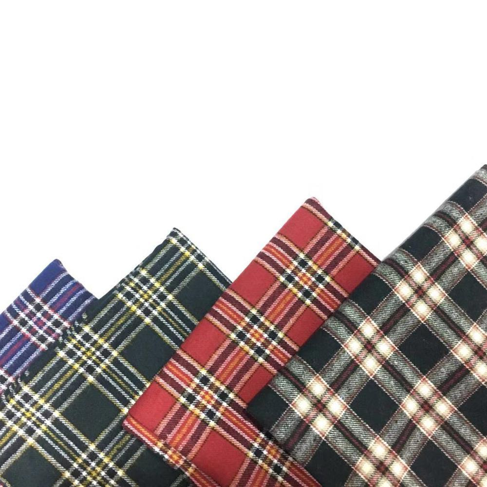 tartan flannel yarn dyed cotton check  shirt fabric various color stocks lot for sale