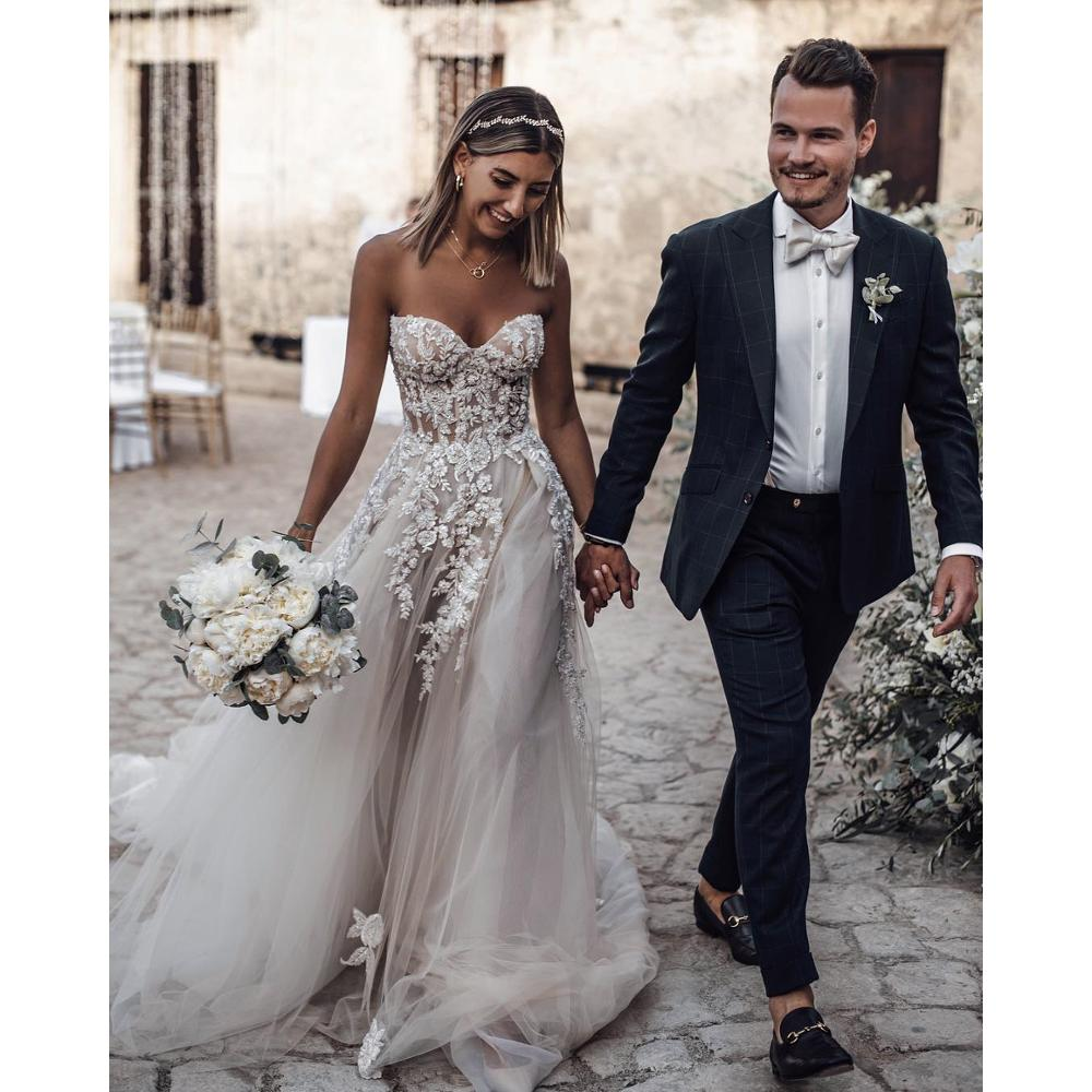 OWD-H2198 Vintage Sweetheart Aline Renda Beaded Gaun Pengantin Wedding Dress 2020
