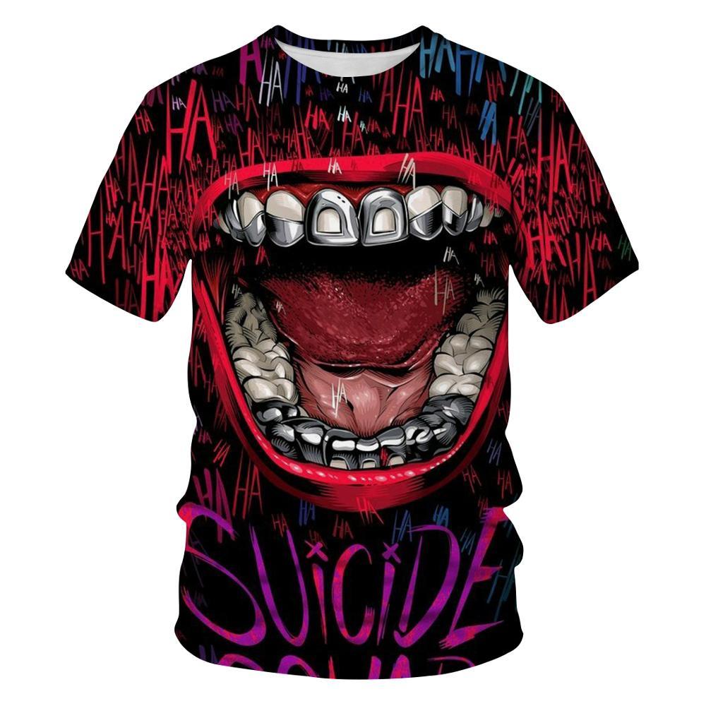 Kaus Oblong Gambar 3D Kustom Grosir Kaus Pria Wajah Joker Kasual O-neck Pria Kaus Badut Cosplay Lengan Pendek Lucu