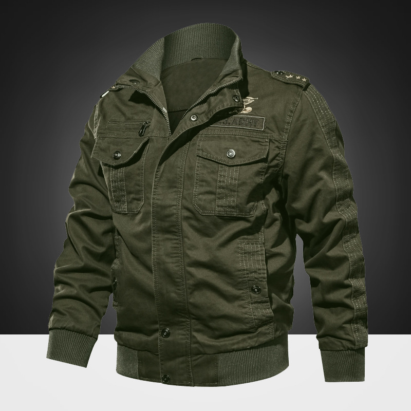 Factory wholesale mens  Army jackets men Pilot Coat Zipper-up Rib Stand Collar XXXXXL mens Jackets Cotton Fabric