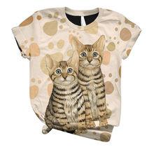 Женская футболка с коротким рукавом, футболка с 3D-принтом котенка, Харадзюку, 38 # размера плюс, с круглым вырезом(China)