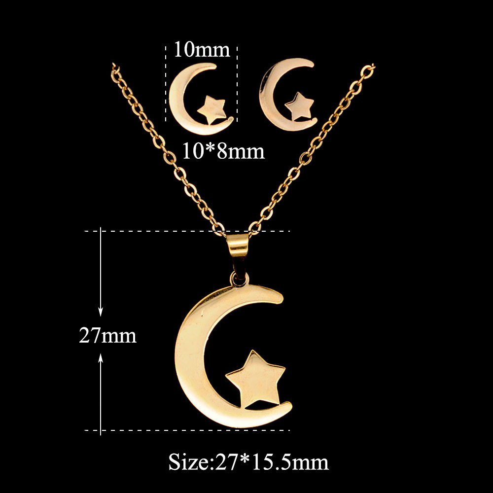 WX035 Trade Assurance 2020 Design Gold Plated Moon and Star Charm Necklace Earrings 2pcs Stainless Steel Women Jewelry Set