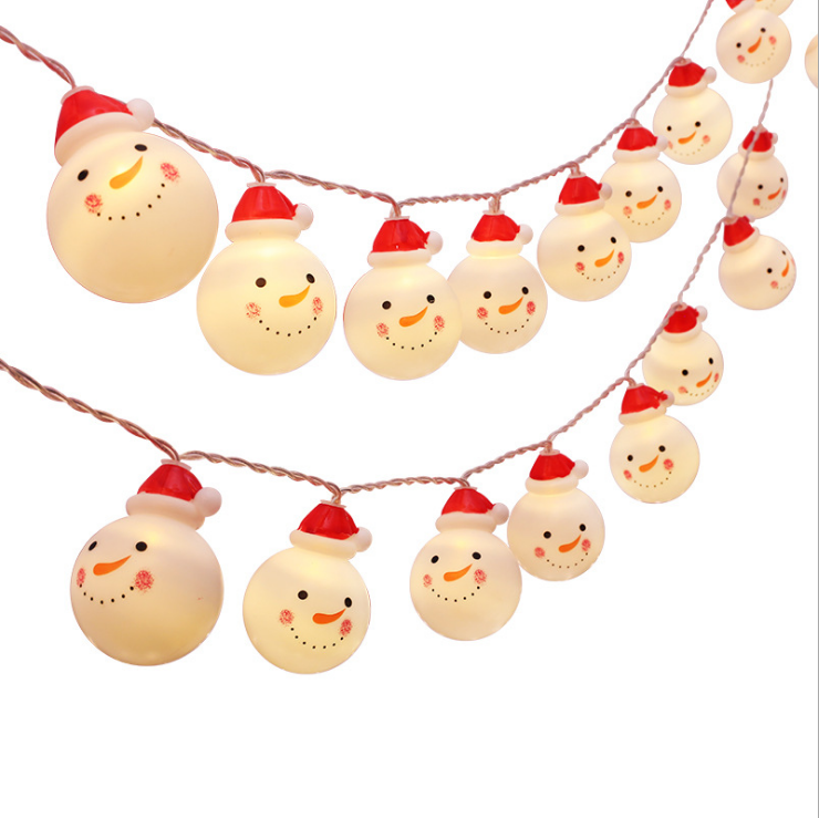 Cross-border e-commerce hot-selling led lantern string Christmas snowman avatar flashing Christmas holiday decoration light