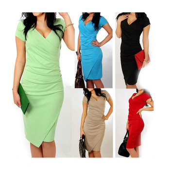 Sexy V Neck Short Sleeve Bodycon Dress Women Summer Slim Casual Pencil Dresses Candy Color Office Lady Dress W0055