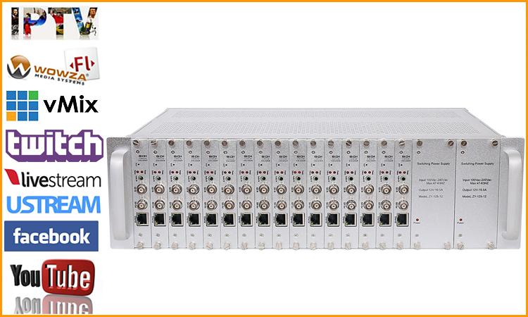 המחיר הטוב ביותר rtmp SRT 16 ערוץ SDI מלא 1080P hd מקודד iptv h.265 sdi כדי ip הזרמת כבל טלוויזיה דיגיטלי וידאו iptv מקודד h265