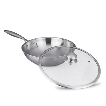 NOBO Brand German Food Grade Tri-ply Stainless Steel Kitchen Stir-Fry Pan with Glass Lids