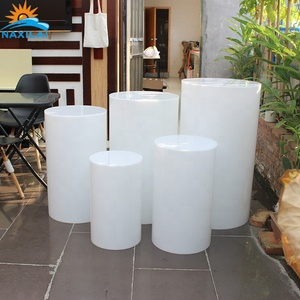 NAXILAI Decorative Wedding Event White Display Pedestal Stand Round Plinth Acrylic Plinths