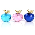 2020 New Colorful Faceted Clear Crystal Apple Figurines Paperweight Christmas Gift