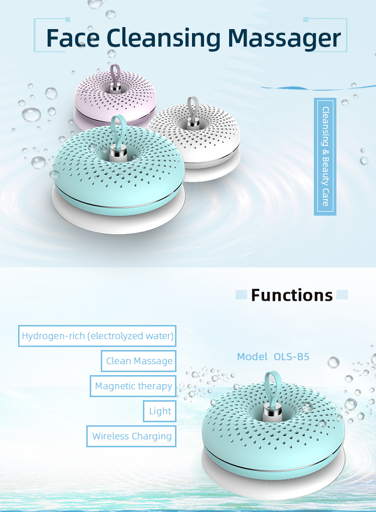 Hydrogen Rich Water Beauty Care OEM Electric Face Cleansing Brush Facial Massage for Home Use