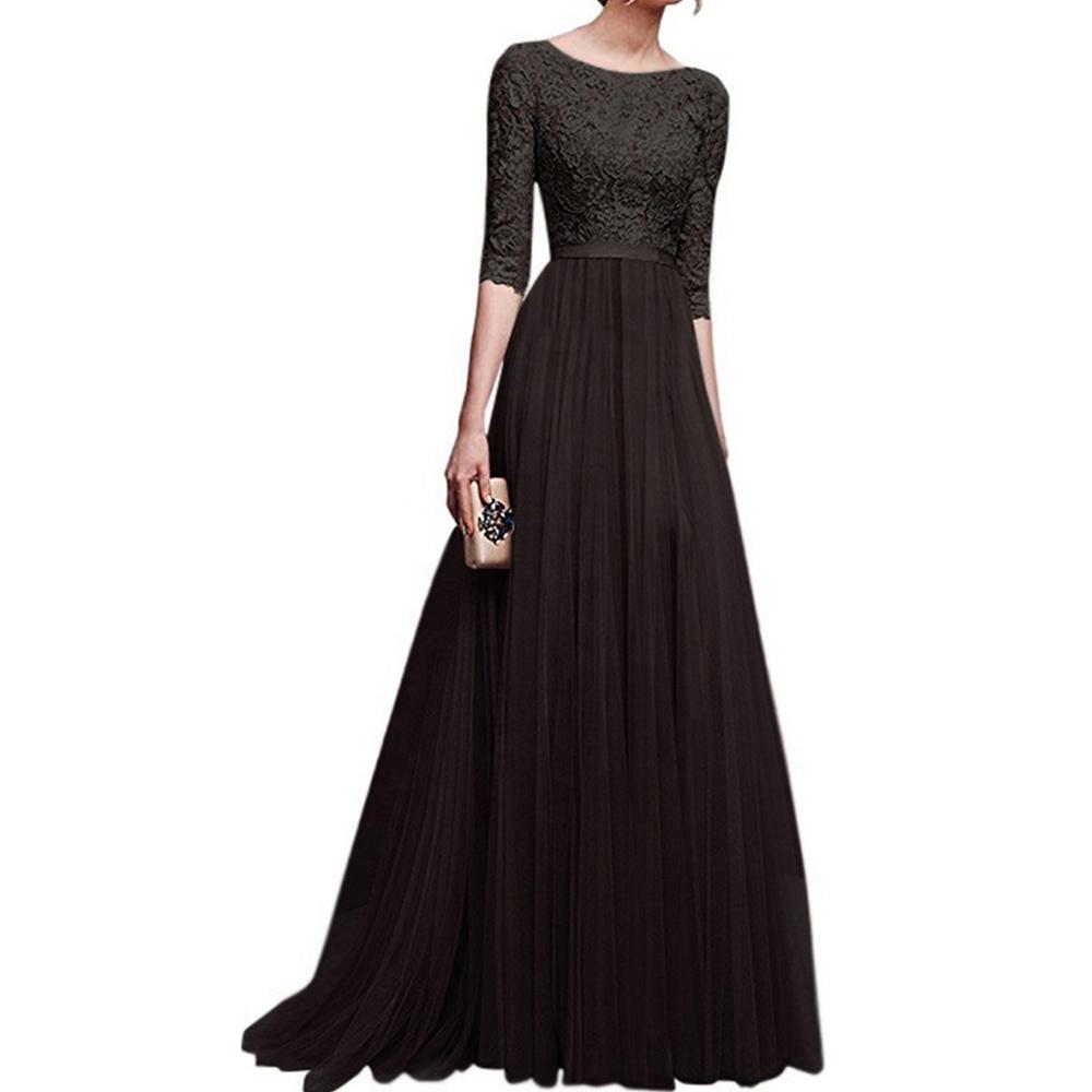 Womens Long Bridesmaids Wedding Dress Half Sleeve Elegant Lace Round Neck Maxi Ladies Evening Party Dresses
