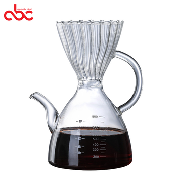 Handmade Borosilicate Glass Pour Over Coffee Maker Glass Big Capacity 800ml